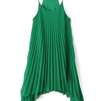 Green Spaghetti Strap Sleeveless Mini Chiffon Dress
