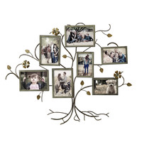 Decorative Bronze-Color Iron Tree Wall Hanging Collage Picture Photo Frame