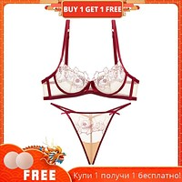 French lingerie t-t pantsuit female bra lace mesh embroidery sexy transparent ultrathin bra