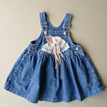 Shabby Girls Denim Jumper. Rustic Country Toddler Dress. Refashioned Baby Gap Play Clothes. Boho Prairie Girl. Vintage Tattered Flower.