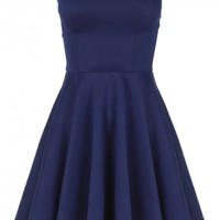 Navy Blue Boob Tube Flare Dress
