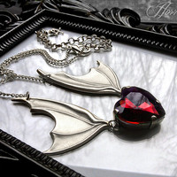 Bat Wing Necklace with Red Heart // Gothic Necklace // Bat Necklace // Halloween Jewelry // Vampire Jewelry // Bat Jewelry // Gothic Jewelry