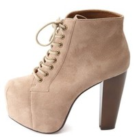 Lace-Up Wooden Heel Platform Booties by Charlotte Russe - Taupe