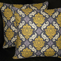 """DAMASK pillow covers Decorative Throw Pillows 20 x 20 inches Joel Dewberry 20"""" grey & yellow Aviary 2"""