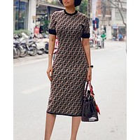 FENDI Hot Sale Women Sexy F Letter Print Short Sleeve Round Collar Knee-Length Dress Coffee