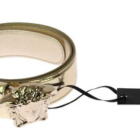 New Versace Metallic Gold Leather 3D Medusa Belt for Women 100/40