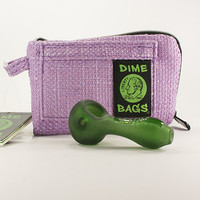 """7"""" Purple Dime Bags Pouch and Grav Labs Green Sandblasted Spoon"""