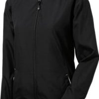 Sport-Tek - Ladies Colorblock Hooded Windbreaker Jacket. LST76 - XXXX-Large - Black / White