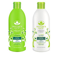 Nature's Gate Tea Tree Calming for Irritated, Flaky Scalp, Duo Set Shampoo & Conditioner, 18 Oz Each Bottle