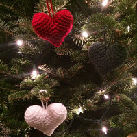 Crochet Heart Christmas Ornaments, Red white and green, Set of 3