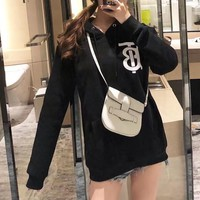 """""""Burberry"""" Women Fashion Letter Print Long Sleeve Hoodie Sweater Casual Tops"""
