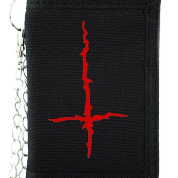 Red Black Metal Style Inverted Cross Tri-fold Wallet Unholy Evil Alternative Clothing