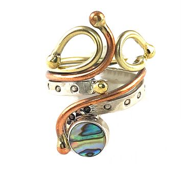Abalone Three Tone Sterling Silver Fanciful Ring