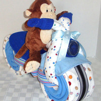 Motorcycle Diaper Cake, Pink or Blue Diaper Cake, Diaper Motorcycle, Baby Shower Decor, Custom Made for Boy or Girl Baby