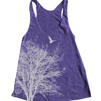 Tree Women Tank American Apparel Triblend Racerback Tank Top Hand Screen Printed 7 Color Available