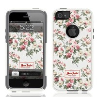 iPhone 5 Case [White] Jenn Taylor Floral [Dual Layer] UnnitoTM *1 Year Warranty* Case Protective [Custom] Commuter Protection Cover iPhone 5S