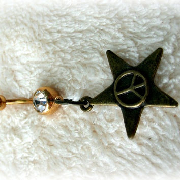 Star Peace Sign Belly Ring, Trending Belly Ring, Hippie, Hipster. Country Western,