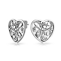 Bling Jewelry Silver Heart Studs