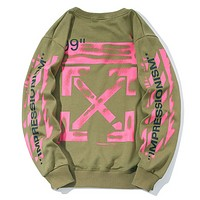 Off White Autumn And Winter New Fashion Letter Cross Print Women Men Long Sleeve Top Sweater Green