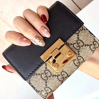 GUCCI High Quality Classic Women Men Chic Leather Buckle Wallet Purse