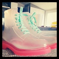 See Through Sugar Shoes - Like DrMartens! Amazing! Size 5, Worn Once!
