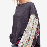 Free People Blossom Printed Balloon-Sleeve Thermal Sweater | macys.com