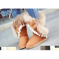 UGG fashion ladies rabbit fur ruffled women's boots oversize fringed mid-leg boots