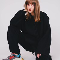 Knitted Oversized Sweater   Black