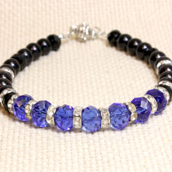 Crystal and Pearl Dog or Cat Collar. Fancy Pet Jewelry with Magnetic Safety Clasp. Royal Blue Crystal Beads Black Pearl and Faux Rhinstones