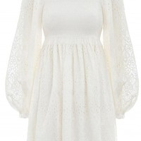 Somebody To Love White Lace Long Lantern Sleeve Square Neck Ruffle A Line Casual Mini Dress