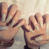 x Pastel Grey x Matte or gloss grey toned nude nails quality press on false nails