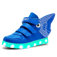 2016 New Children's Fashion USB Rechargeable LED Light Casual Shoes/Boys and Girls Fashion High Top Luminous Sneakers