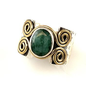Emerald Sterling Silver Two Tone Spiral Band Ring