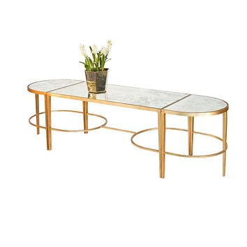 3-Piece Gold Leaf Coffee Table by Worlds Away