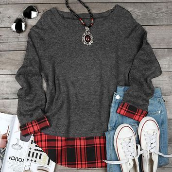 Fashion Women Plaid Splicing O-Neck Long Sleeve Sweater 2018 Female Knitted Pullovers Autumn Dark Grey Knitting Sweaters