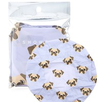 Pug Print Shower Cap