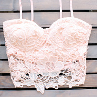 Malibu peach lace crop top