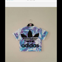 unisex customised adidas acid wash tie dye cropped t shirt  festival swag
