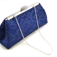 Navy Blue and Blush Pink Evening Clutch