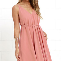 Whoa Nelly Dusty Rose Midi Dress