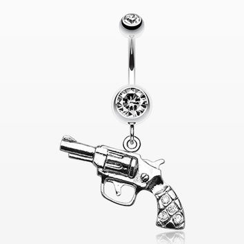 Pistol Gun Sparkle Belly Ring