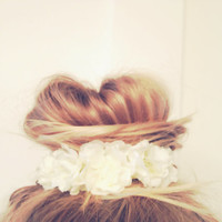 Vintage Floral Inspired Bun Cover for Top Knots Sock by emmaflhair