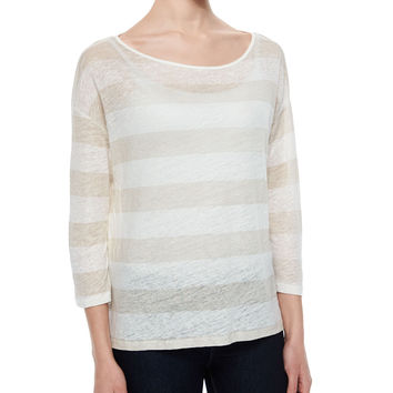 3/4-Sleeve Striped Linen Top, Size: 1/X-SMALL, GALET/ECRU - Majestic Paris for Neiman Marcus