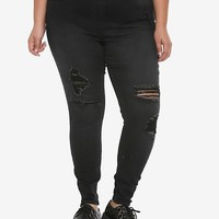 NEW! Blackheart Black Destructed Jeggings Plus Size