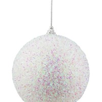 """4.5"""" Decorative Iridescent White  Pink and Green Bristled Christmas Ball Ornament"""