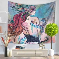 150*200cm Homing Art Girl apestry Indian Cat Wikiwand Tapestry Wall Hanging Colored Pencils Cute Italy Tapestry