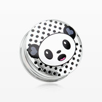 zzz-A Pair of Adorable Baby Panda Clear UV Double Flared Ear Gauge Plug