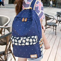Womens Blue Canvas Backpack Daypack Travel Bag Pretty Backpack School Bookbag Gift 02