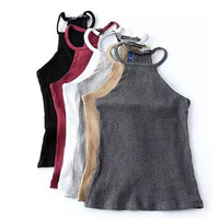 Summer Off Shoulder Knitted Bustier Crop Top Women Round Neck Elastic Tube Tank Tops Knit Beach Sexy Camis Crop Tops 6 Colors