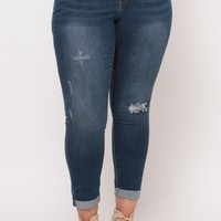 Plus Size Distressed Skinny Ankle Jean- Medium Wash